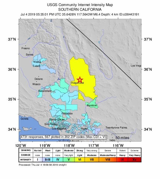 Map by the U.S. Geological Survey depicts the intensity of the 6.4 magnitude earthquake that hit southern California on Thursday morning.