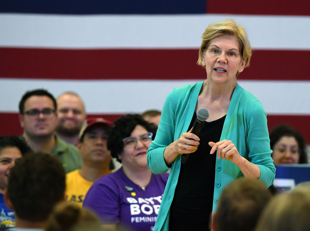 Democratic presidential candidate U.S. Sen. Elizabeth Warren (D-MA) speaks during a community conversation at the East Las Vegas Community Center on July 2, 2019 in Las Vegas, Nevada. Polls taken after last week's first Democratic presidential debates show Warren gaining ground with voters.