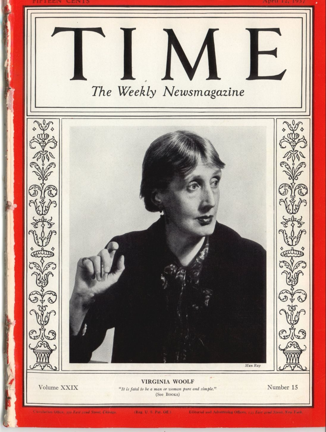 Virginia Woolf on the cover of TIME's April 12, 1937 issue