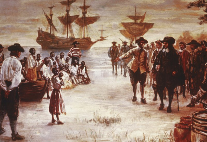 Engraving shows the arrival of a ship with a group of Africans for sale in Virginia in 1619