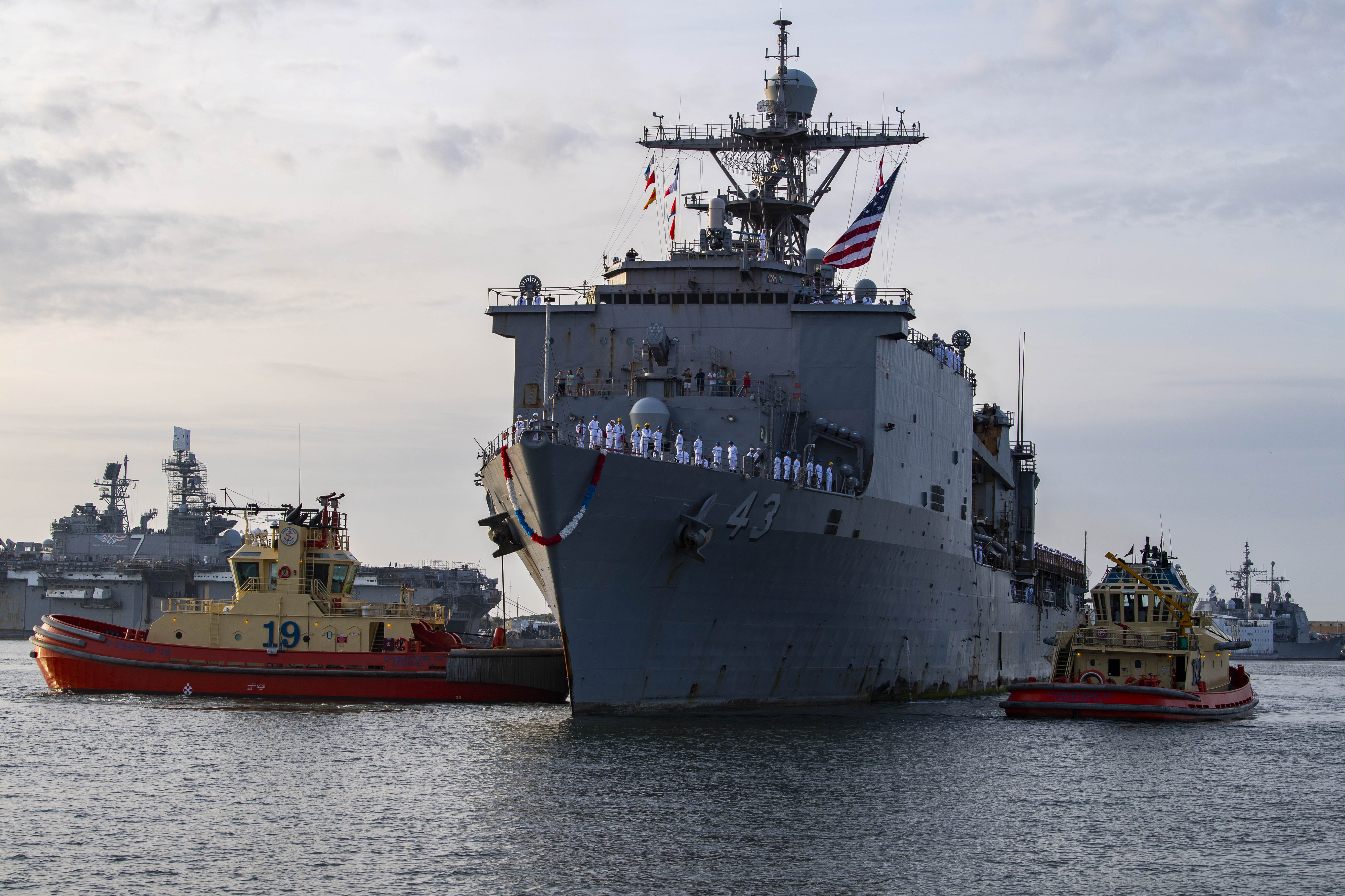 The Whidbey Island-class amphibious dock landing ship USS Fort McHenry (LSD 43) at Naval Station Mayport, Fla. It will be riding out the storm in Mayport.
