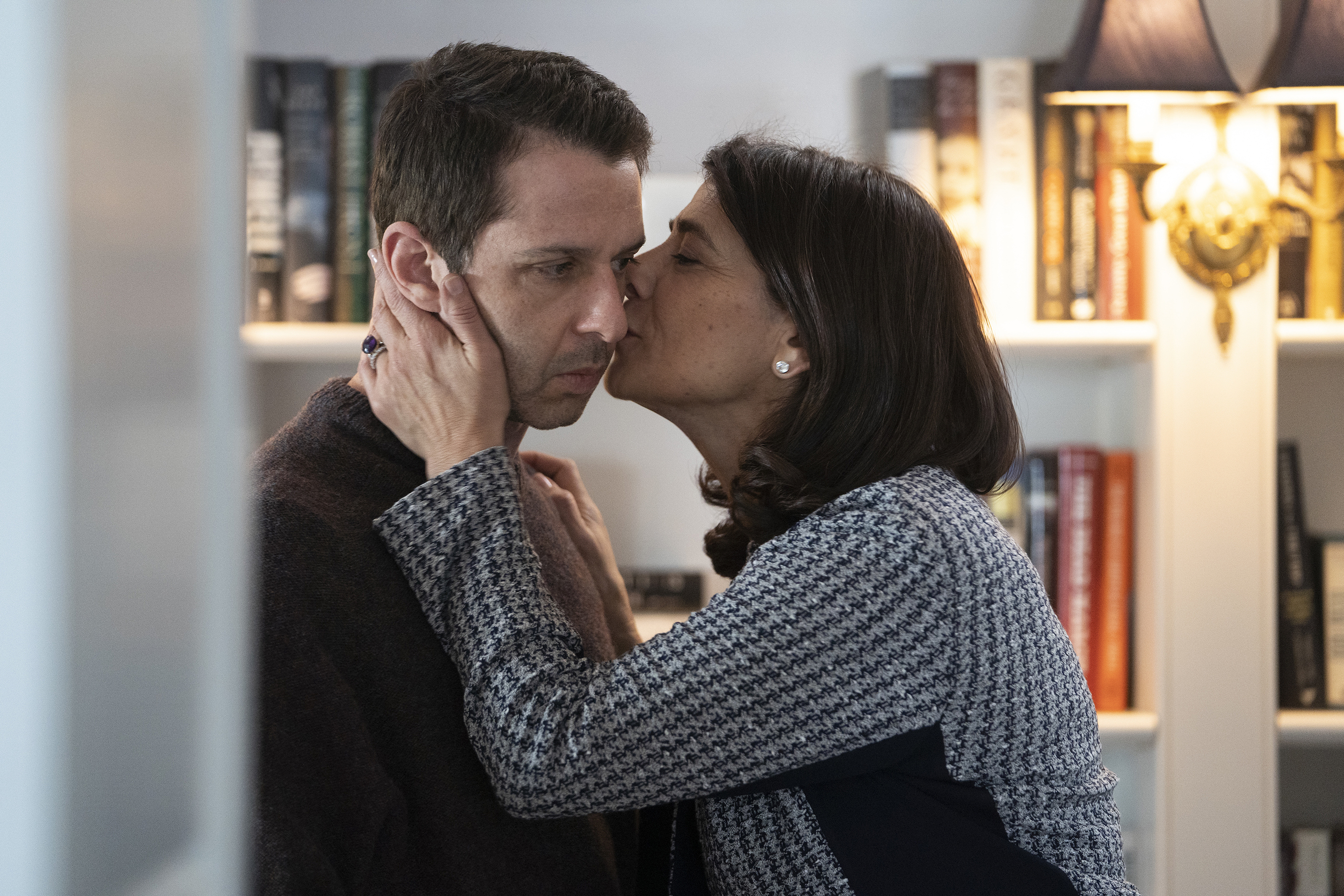 Jeremy Strong, left, and Hiam Abbass in season two of  Succession.
