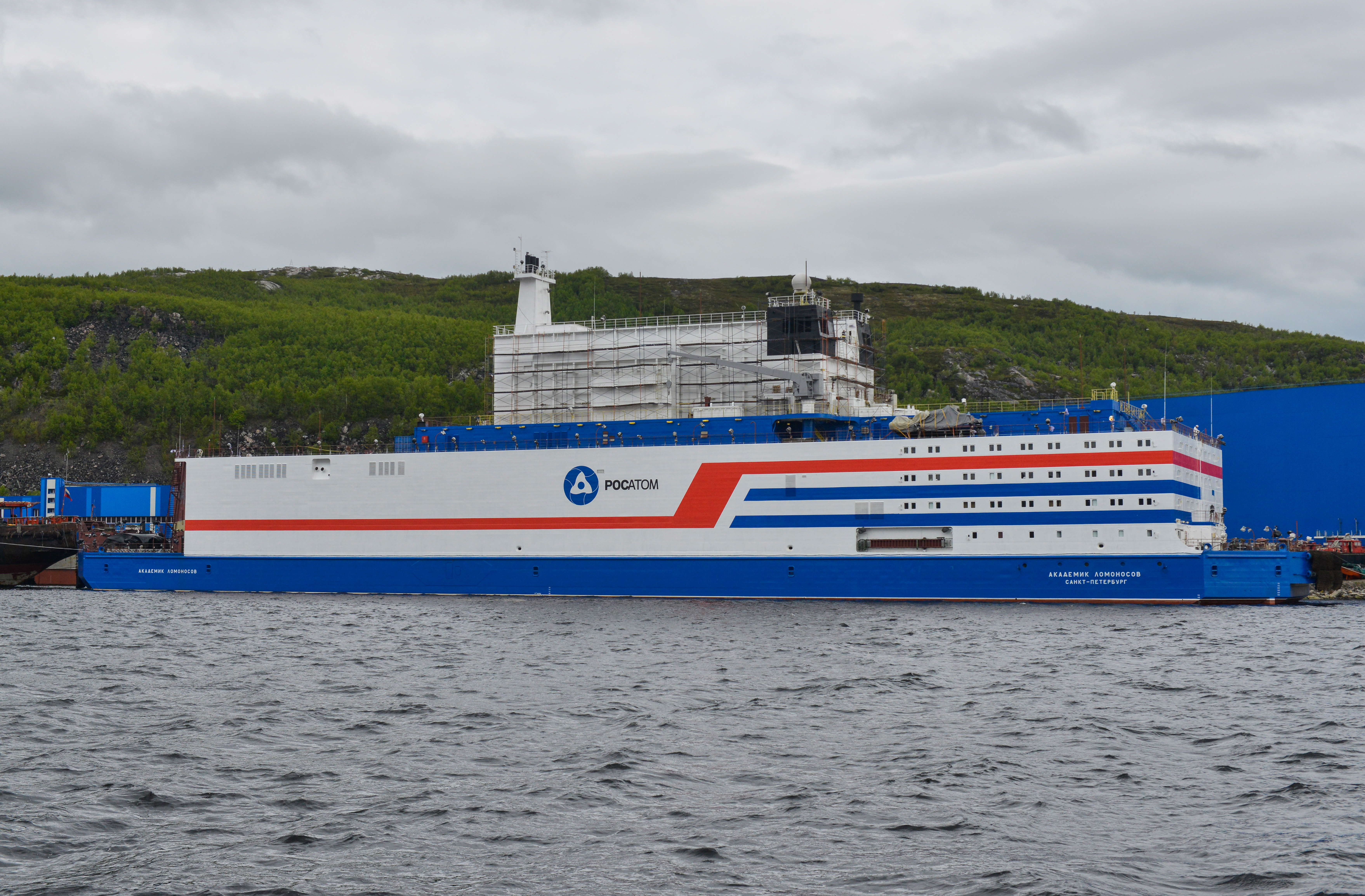 A view of Akademik Lomonosov, a floating nuclear power unit, its hull painted at the Atomflot base; being part of a floating nuclear power station, the vessel belongs to a new class of energy sources based on Russian nuclear shipbuilding technologies.