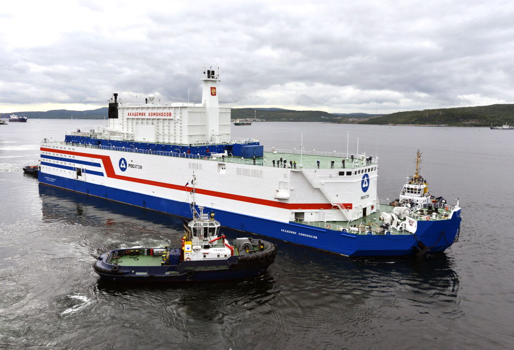 The Akademik Lomonosov, a barge containing two nuclear reactors, is pictured in Murmansk during its departure for Pevek, Chukotka Autonomous Area, on Russia's Arctic coast where it will function as a nuclear power station.