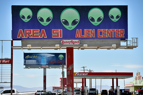 A billboard advertising a convenience store named Area 51 Alien Center is seen along U.S. highway 95 in Amargosa Valley, Nevada on July 21, 2019.