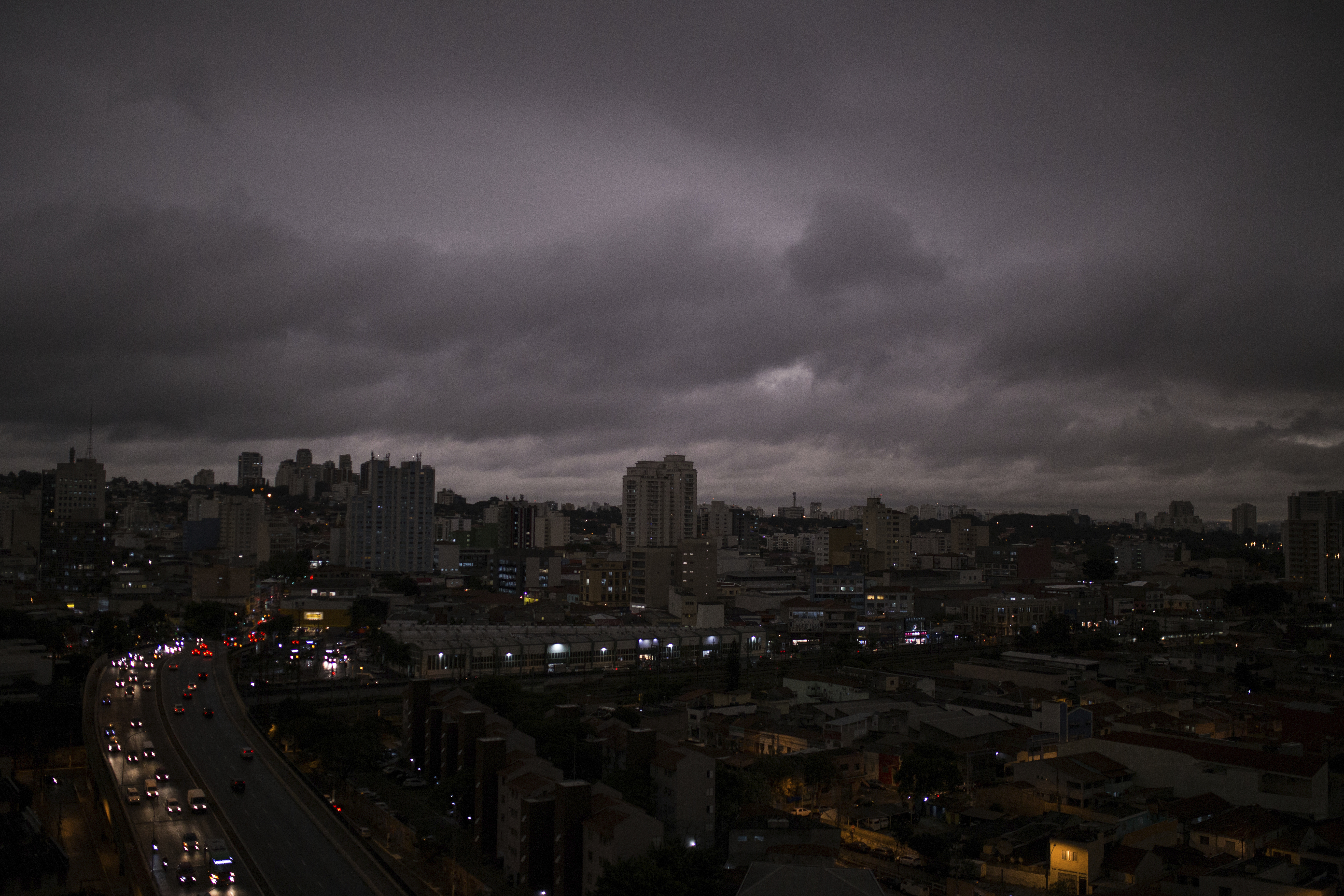 Darkened skies in Sao Paulo, seen on Monday, August 19. Residents of this metropolis of millions recently reported black rain. Studies by two universities confirmed that the rainwater contains fire residues.
