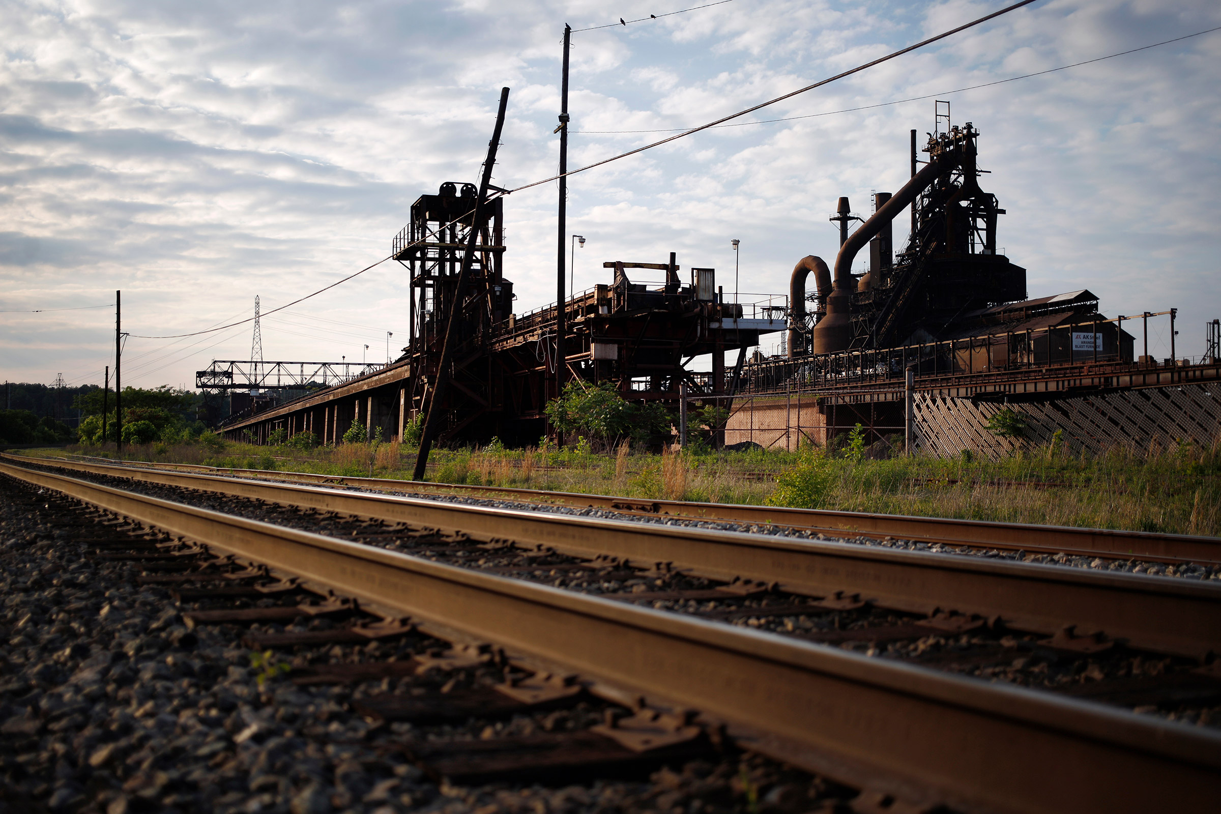 CSX Transportation Inc. railroad tracks run past the idled blast furnace on the grounds of AK Steel's Ashland Works mill on May 15.