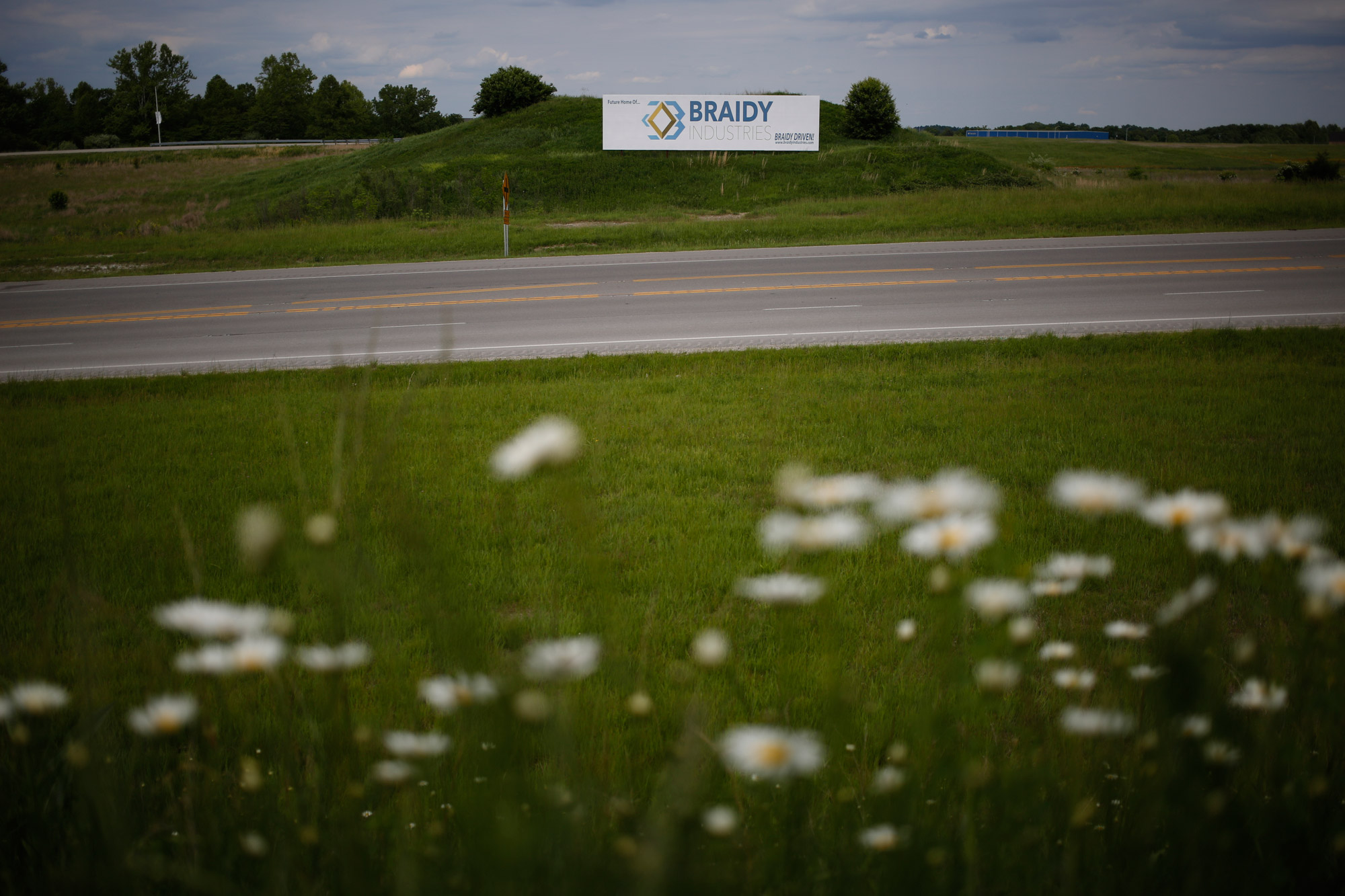 A Braidy sign looms over the future location of the company's aluminum mill in northeastern Kentucky