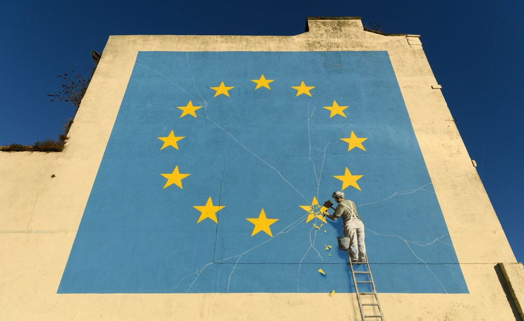 Visualiser content creator artist Banksy Brexit chipped EU flag Dover England