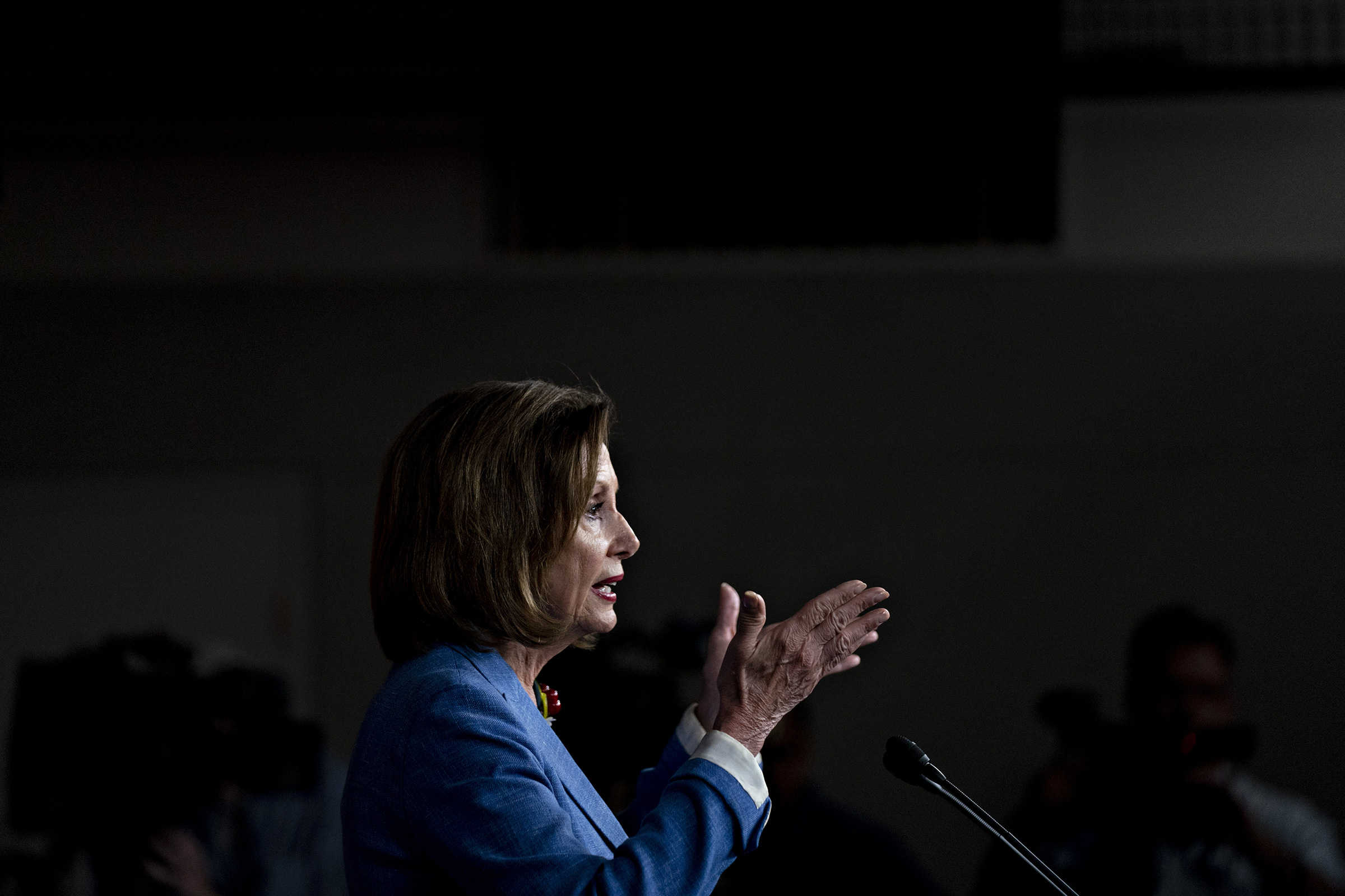 U.S. House Speaker Nancy Pelosi speaks during a news conference on Capitol Hill in Washington, D.C., July 26, 2019.