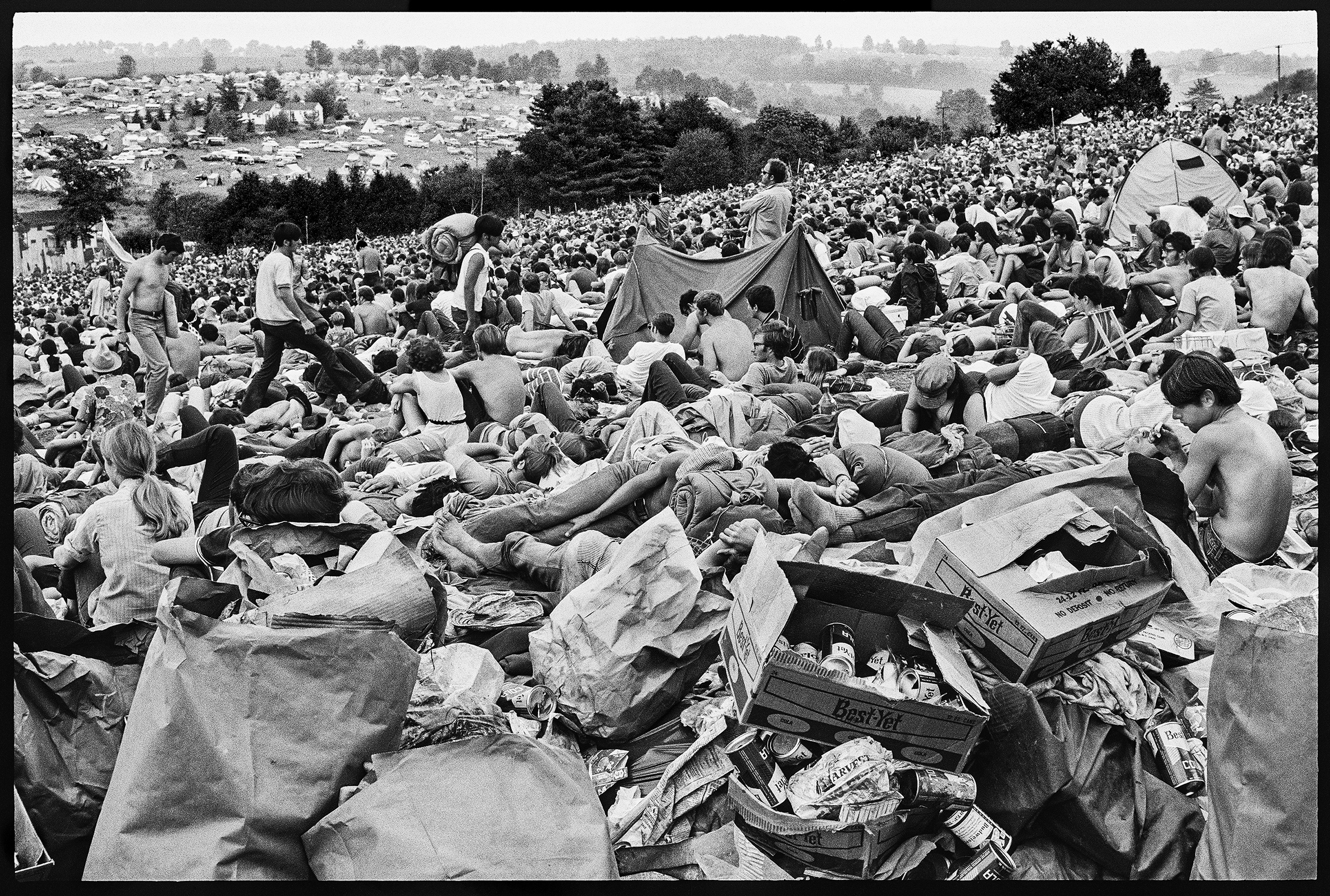 A crowd on the hillside at Woodstock.