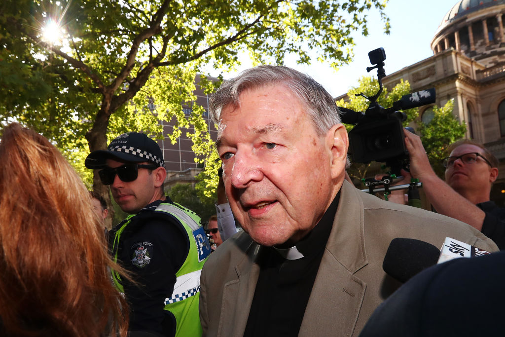 Cardinal George Pell arrives at Melbourne County Court in Melbourne, Australia, on  on February 27, 2019.