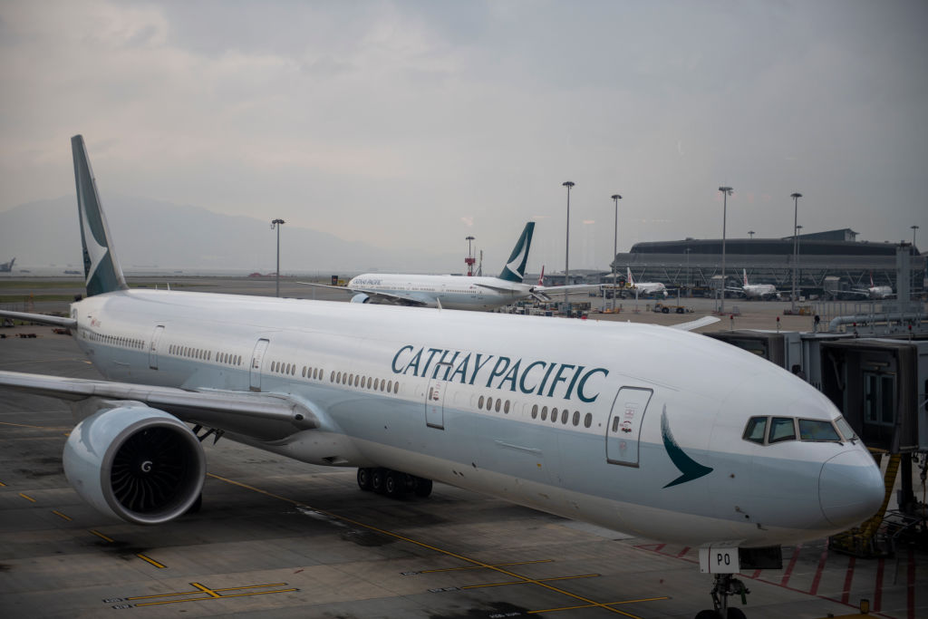 A Cathay Pacific aircraft is seen parked in Hong Kong International Airport  on May 23, 2019.