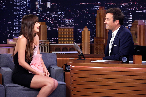 THE TONIGHT SHOW STARRING JIMMY FALLON -- Episode 1103 -- Pictured: (l-r) Actress Dakota Johnson during an interview with host Jimmy Fallon on August 6, 2019.