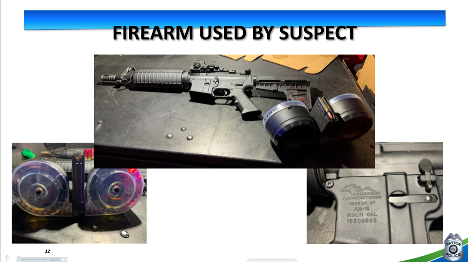 This slide from a presentation by the Dayton Police Department shows the AR-15-style assault rifle and the 100-round drum magazine used by the shooter on Sunday, Aug. 4, 2019.