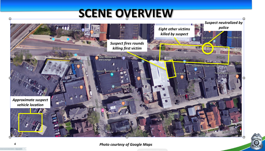 This map from the Dayton Police Department shows the path the gunman took in his 32-second shooting spree in the Oregon District of Dayton, Ohio early Sunday, Aug. 4, 2019.