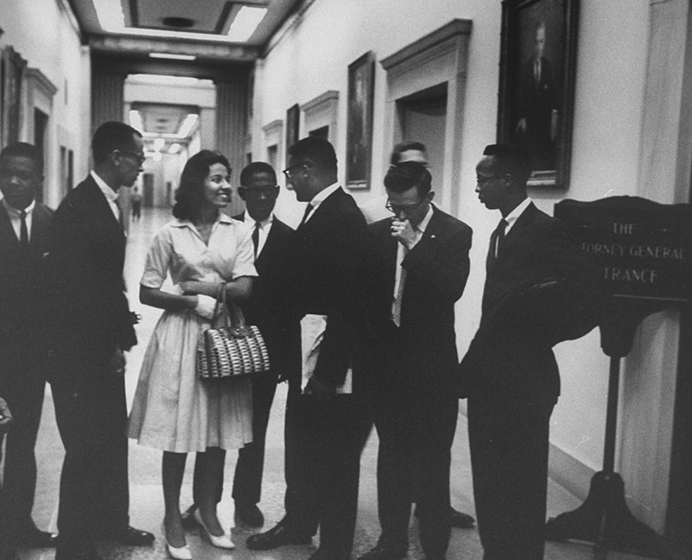 A 1961 photo of Diane Nash and other  Freedom Riders  at the Department of Justice  in Washington, D.C.