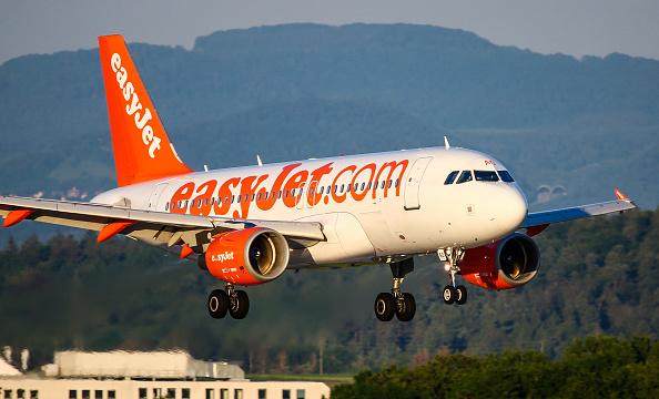 An easyJet Airbus A319 lands at Stuttgart Airport.