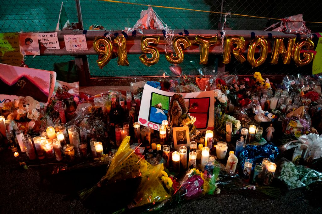 A makeshift memorial for shooting victims is pictured at the Cielo Vista Mall Walmart in El Paso, Texas on Aug. 8, 2019.
