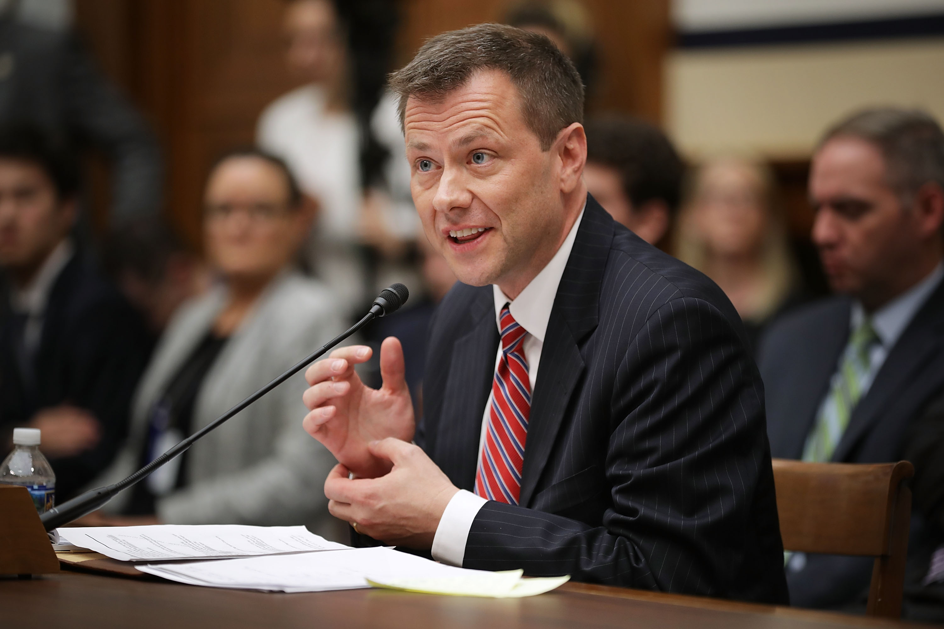 Deputy Assistant FBI Director Peter Strzok testifies before a joint committee hearing of the House Judiciary and Oversight and Government Reform committees in the Rayburn House Office Building on Capitol Hill July 12, 2018 in Washington, DC.