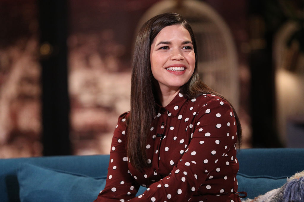 America Ferrera on the set of Busy Tonight.