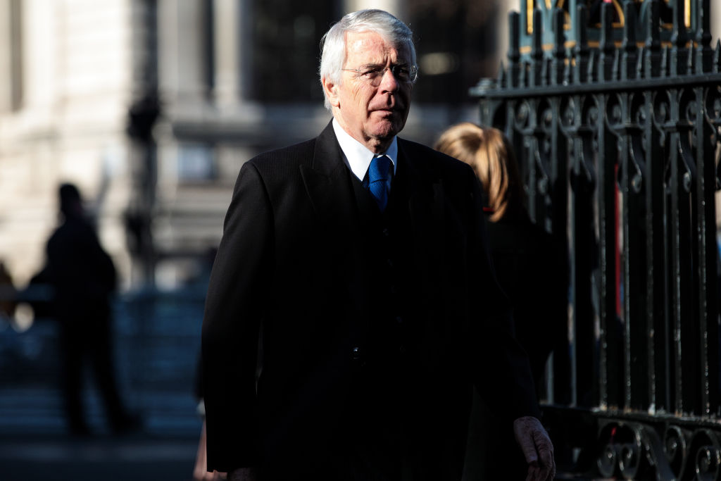 LONDON, ENGLAND - JANUARY 31: Former British Prime Minister John Major arrives for a memorial service for Conservative Peer Lord Carrington at Westminster Abbey on January 31, 2019 in London, England.