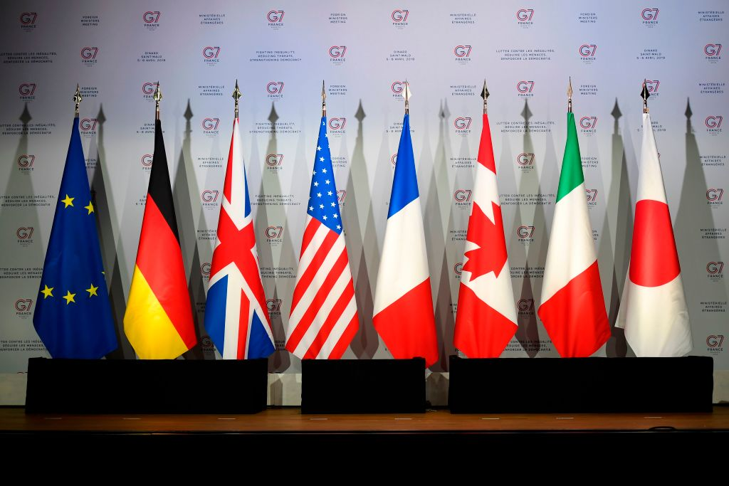This picture taken on April 5, 2019, shows flags of European Union, Germany, United-Kingdome, the United States of America, France, Canada, Italy and Japan during a meeting to prepare the G7 Summit in Biarritz which will take place from August 25 to 27, 2019, in Dinard.