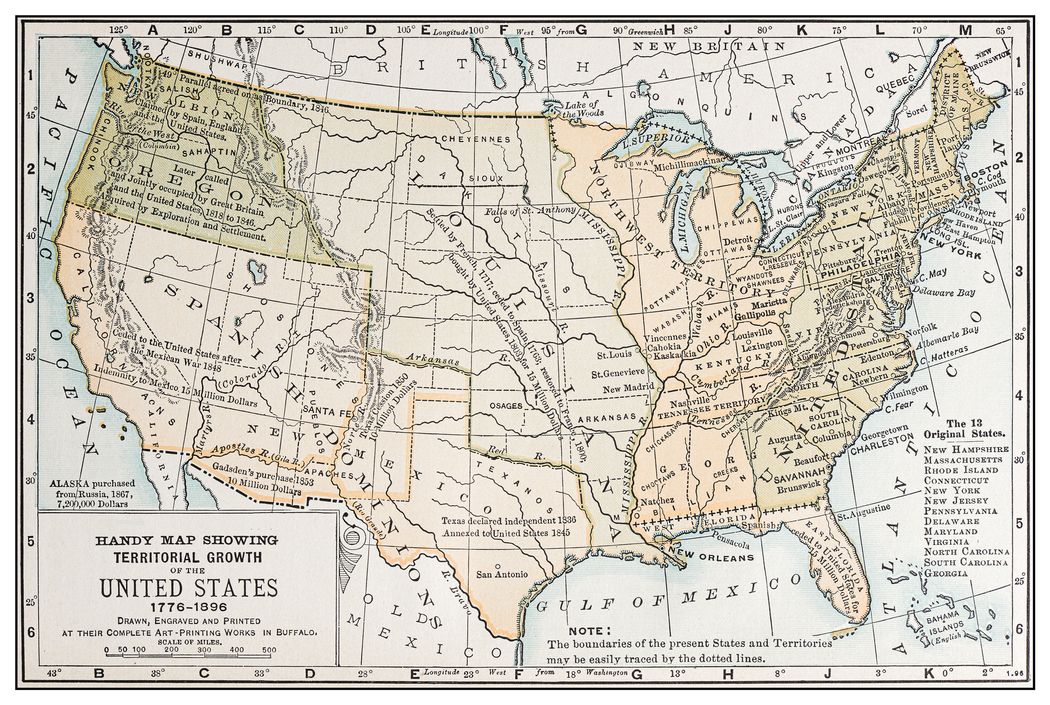 This map of America's original 13 states doesn't show where Franklin existed for four years in the mid to late 1780s.