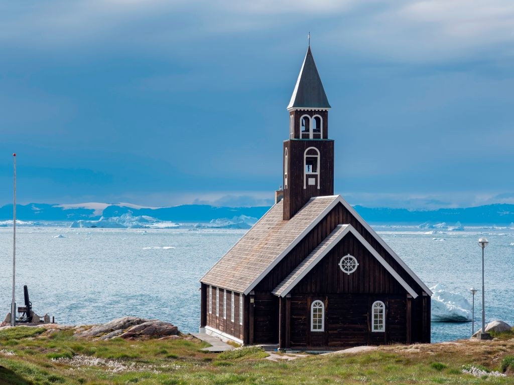 Zions church in the town of Ilulissat at the shore of Disko Bay in West Greenland is a center for tourism on the island.