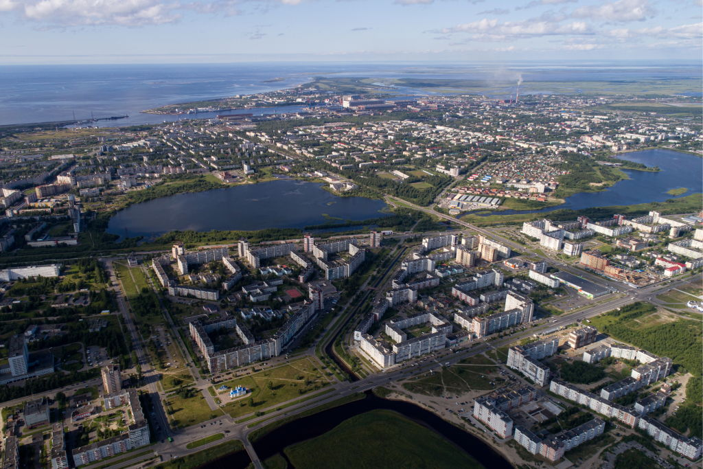Residential buildings in a district of Severodvinsk, where the level of radiation following an Aug. 8 incident at a military test site was 4-16 times above normal