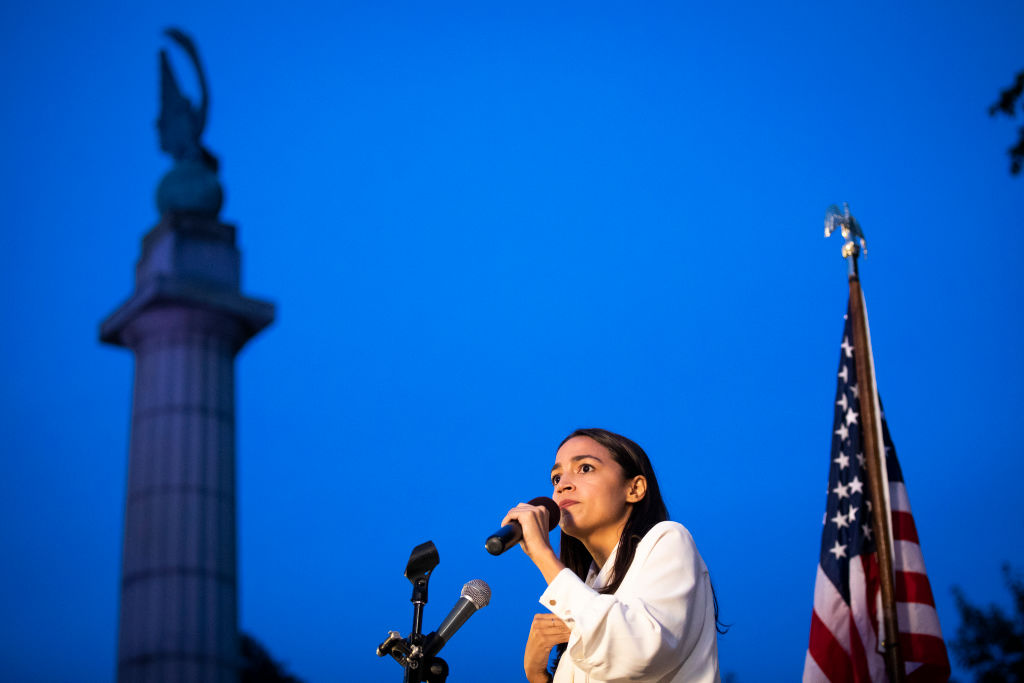 U.S. Rep. Alexandria Ocasio-Cortez (D-NY) speaks during a vigil for the victims of the recent mass shootings in El Paso, Texas and Dayton, Ohio, in Grand Army Plaza on August 5, 2019 in the Brooklyn borough of  New York City.