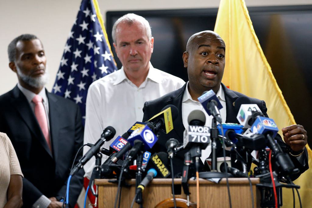 Newark Mayor Ras Baraka speaks about Newark's ongoing water crisis during a press conference held at the Newark Health Department on August 14, 2019 in Newark, New Jersey. (Photo by Rick Loomis/Getty Images)