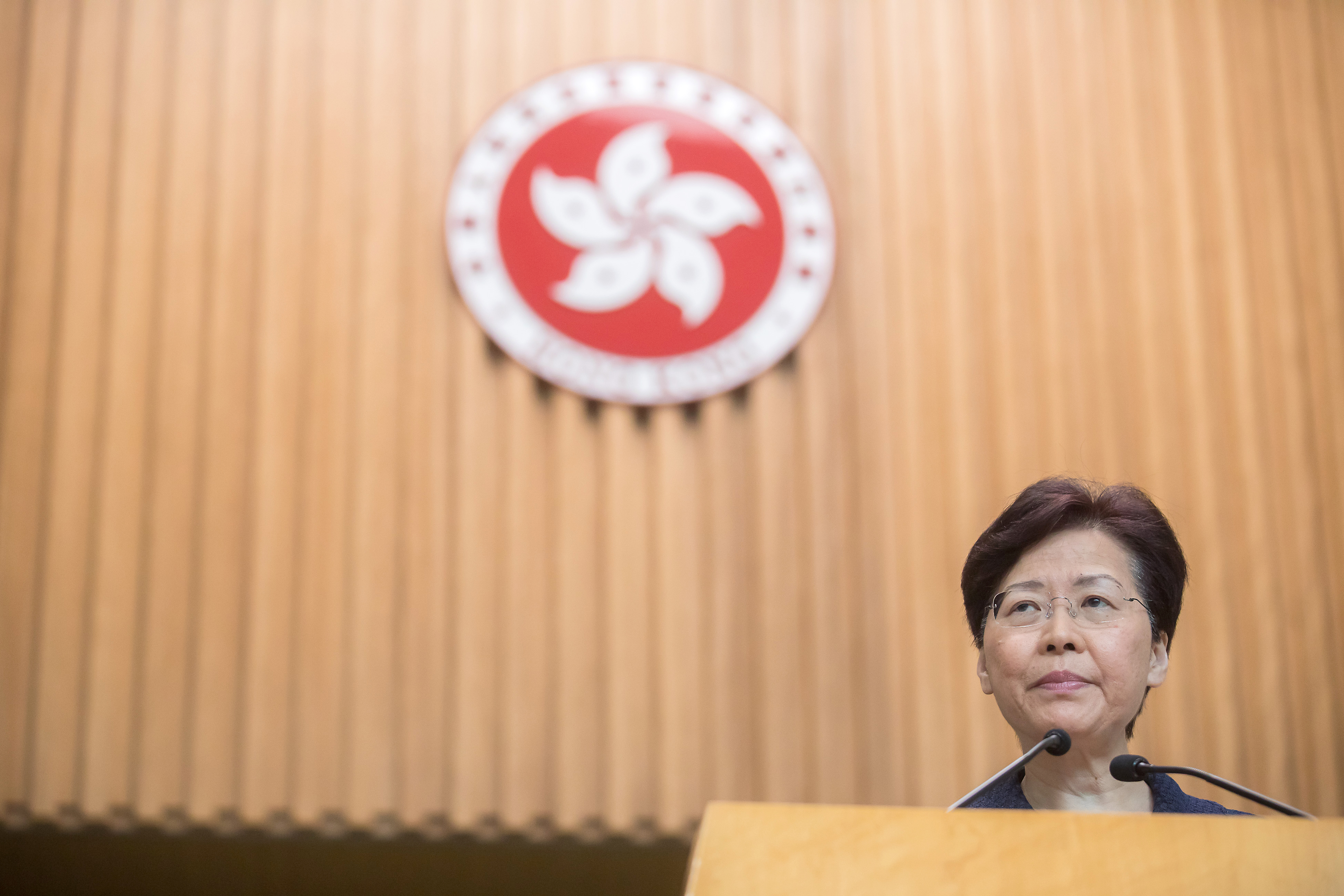 Carrie Lam, Hong Kong's chief executive, speaks during a news conference in Hong Kong, China, on Tuesday, Aug. 20, 2019.
