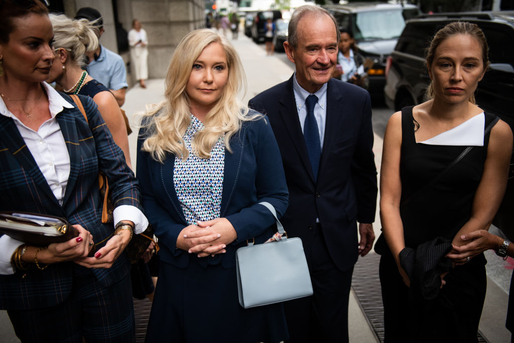 David Boies, representing several of Jeffrey Epstein's alleged victims, center, arrives with Annie Farmer, right, and Virginia Giuffre, alleged victims of Jeffrey Epstein, second left, at federal court in New York, U.S., on Tuesday, Aug. 27, 2019.