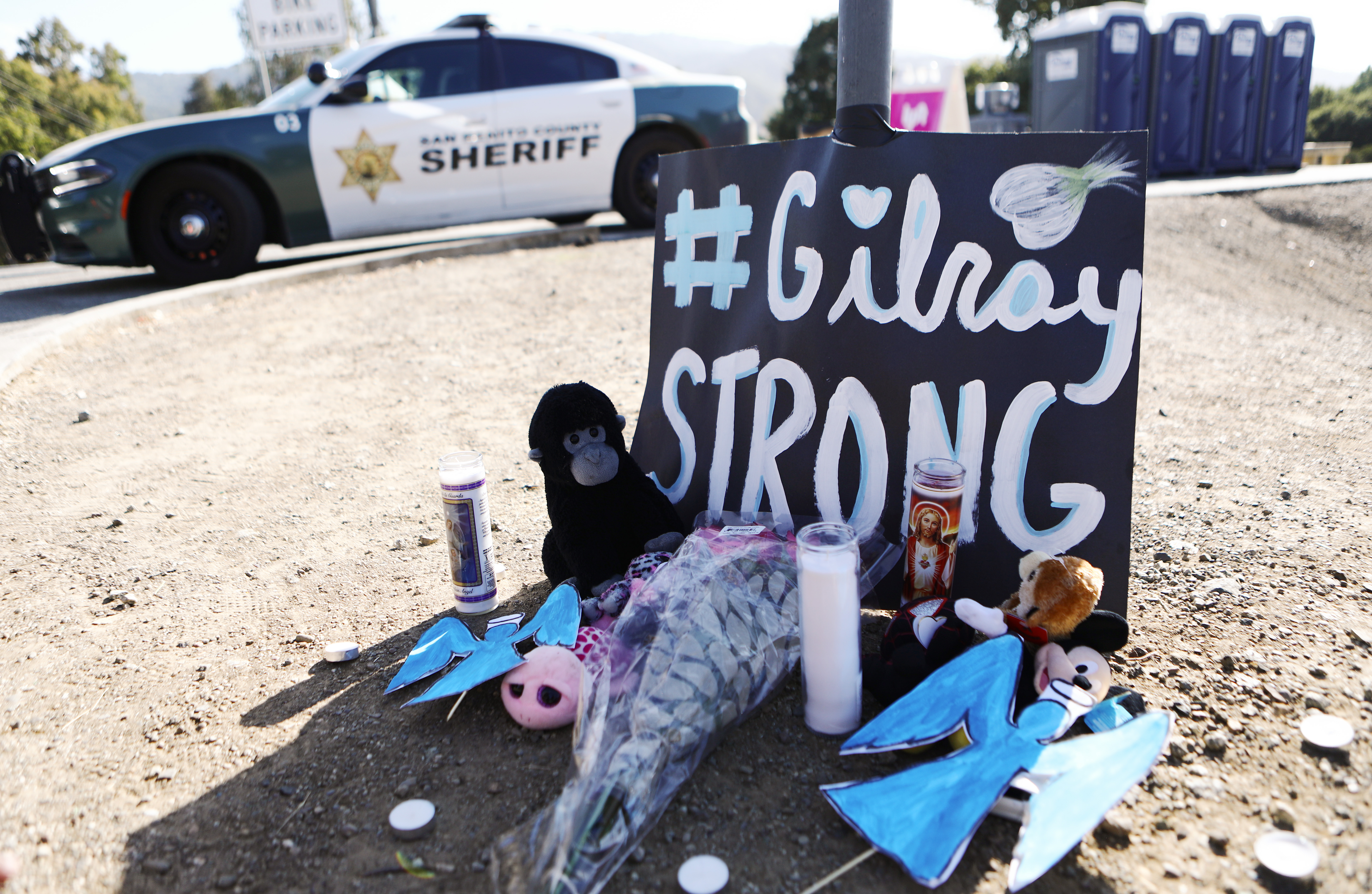 A makeshift memorial is seen outside the site of the Gilroy Garlic Festival on July 29, 2019.