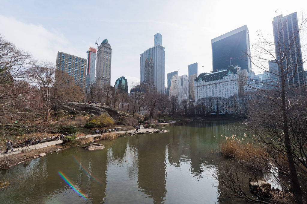 Wides shots of Central Park featuring people sitting at benches by the pond and tall skyscrapers outlining Now Yorks city skyline in New York City on Feb 28th 2017.