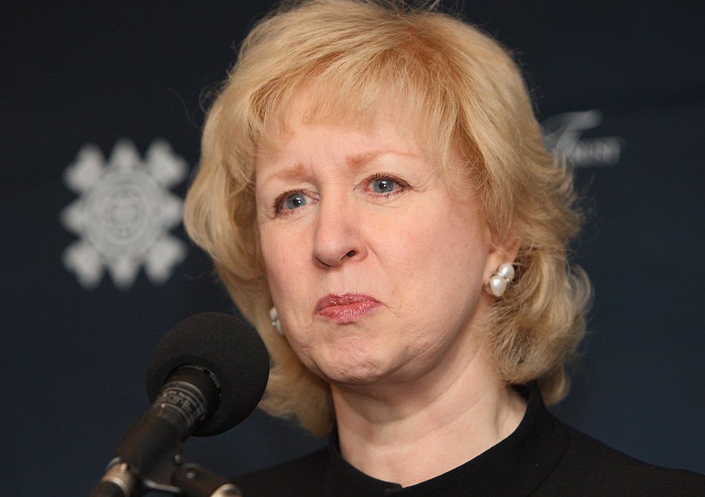 Former Prime Minister of Canada  Kim Campbell takes questions at the International Women Leaders Global Security Initiative 16 November, 2007 in New York.
