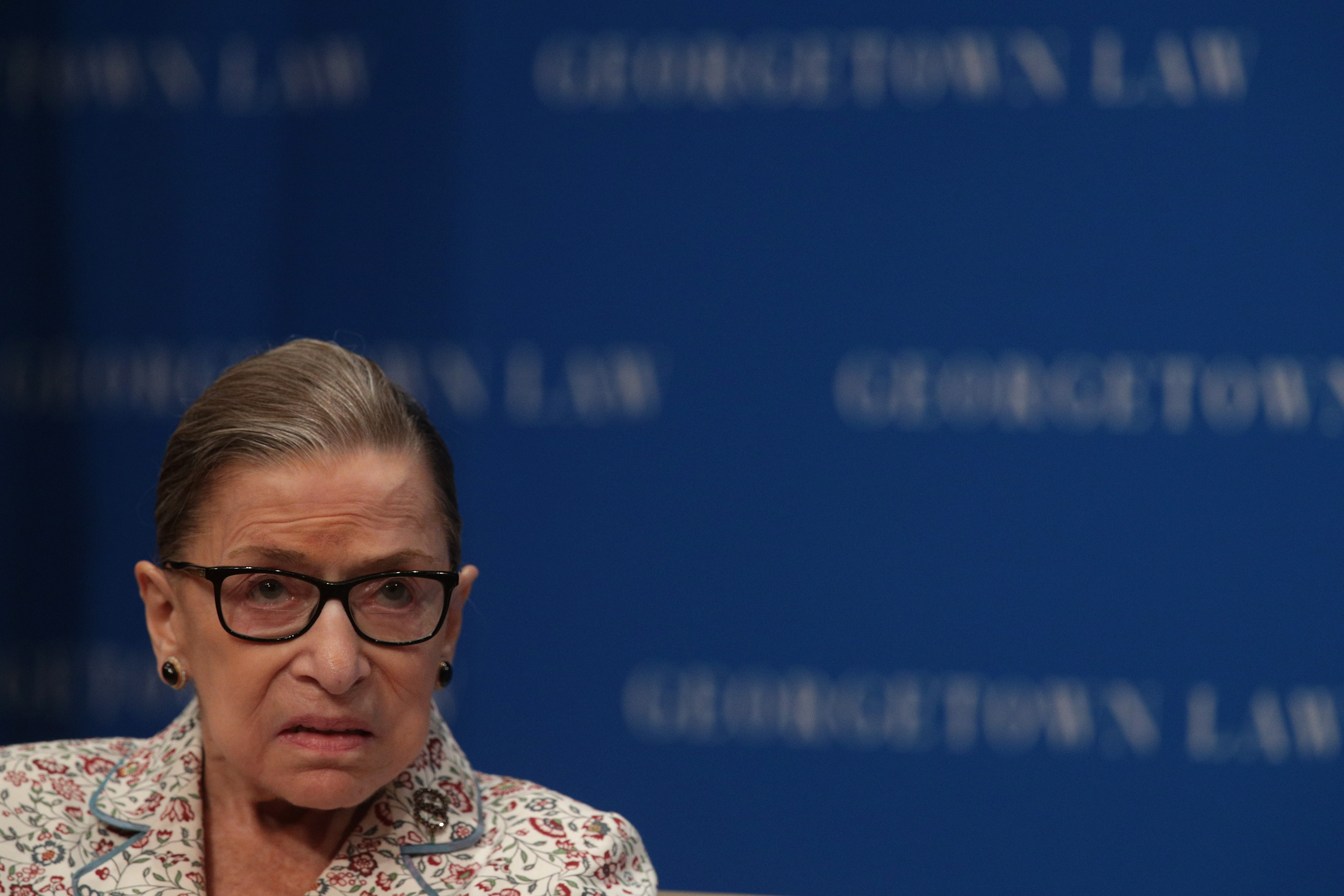 U.S. Supreme Court Justice Ruth Bader Ginsburg participates in a discussion at Georgetown University Law Center July 2, 2019 in Washington, DC.