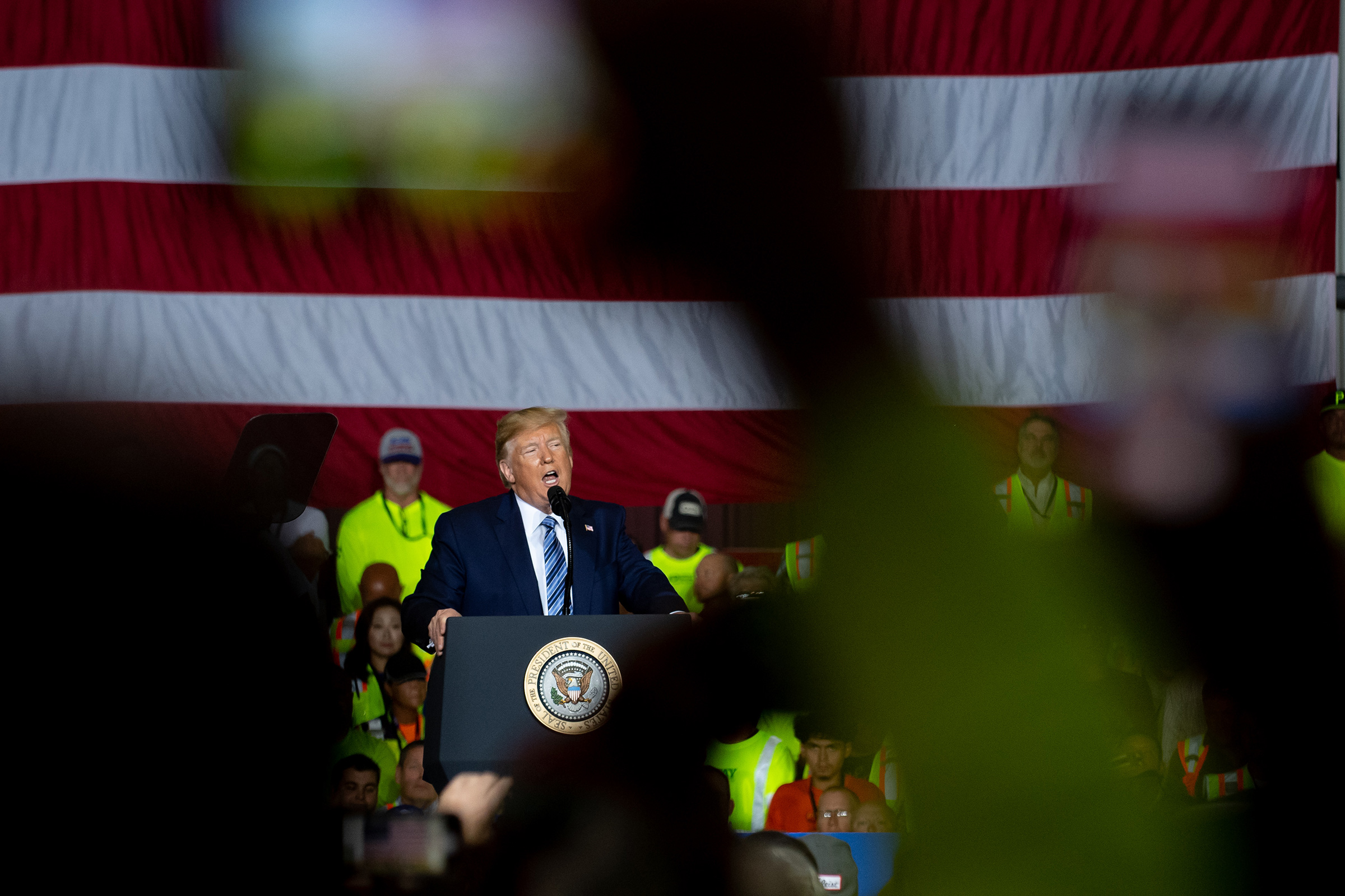 President Donald Trump speaks to contractors at the Shell Chemicals Petrochemical Complex on Aug. 13, 2019 in Monaca, Pa.