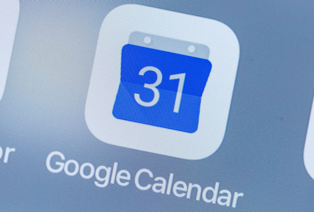 A smart phone with the icons for the Google Calendar app is seen on the screen in Hong Kong, Hong Kong, on July 31, 2018.