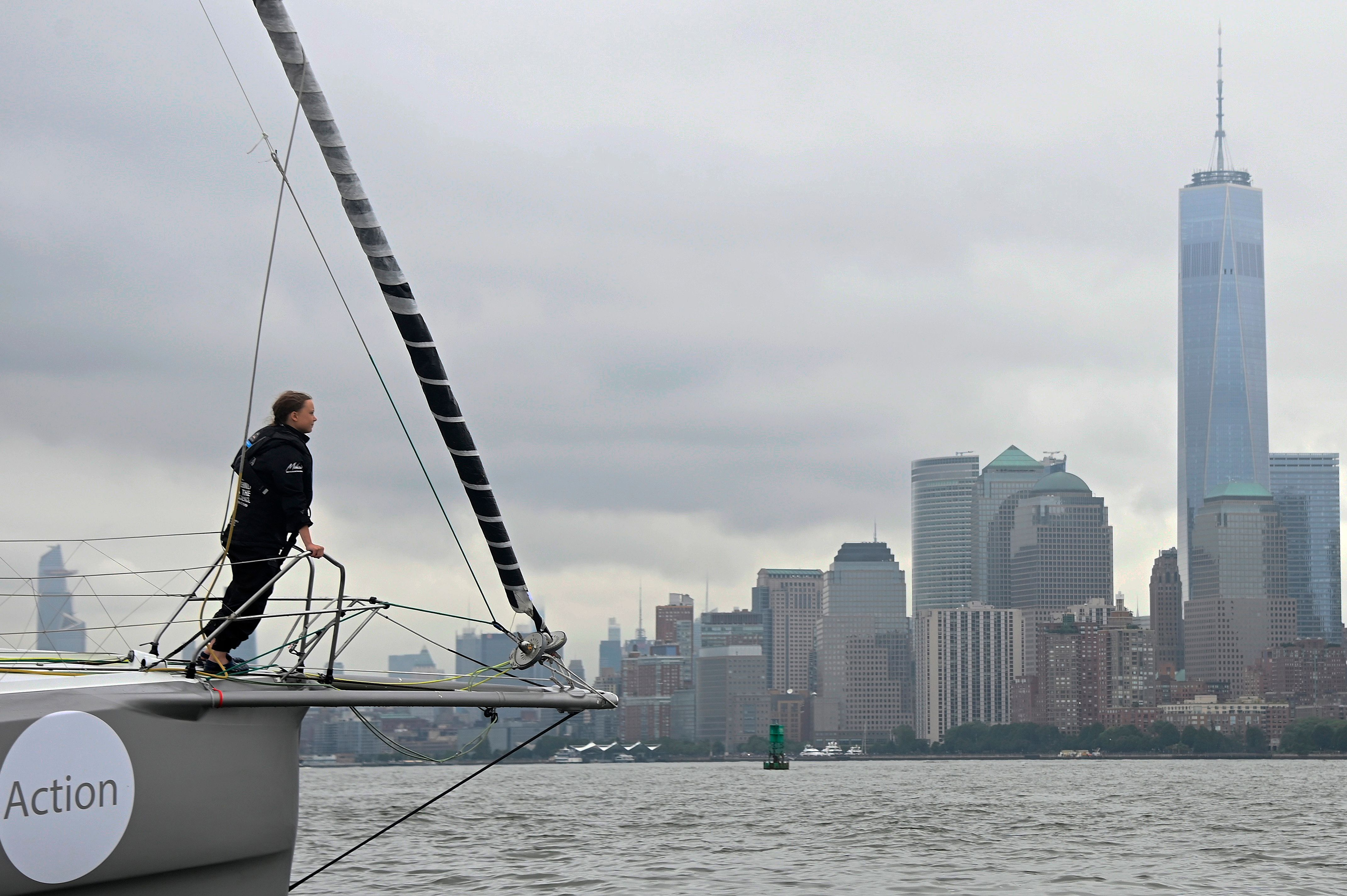 The Malizia II, a zero-carbon yacht, with Swedish climate activist Greta Thunberg, 16, arrives in the US after a 15-day journey crossing the Atlantic in on Aug. 28, 2019 in New York.