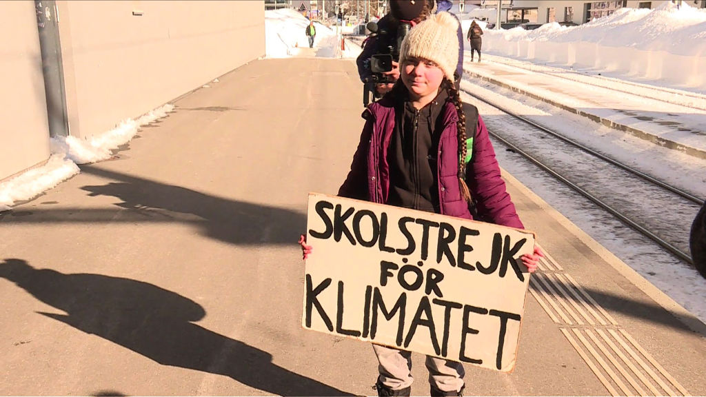 An image grab taken from a video from AFPTV on January 23, 2019 shows Swedish youth climate activist Greta Thunberg standing on the platform after arriving by train to Davos, in eastern Switzerland, during the World Economic Forum (WEF) annual meeting.
