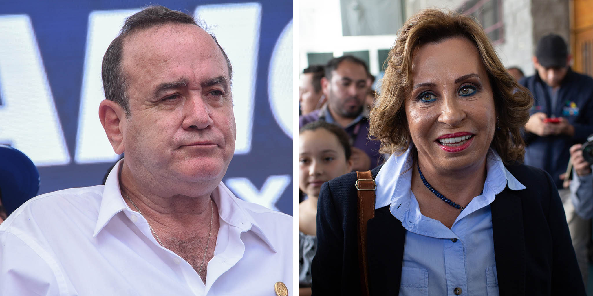 (L) Guatemalan candidate for the Vamos party Alejandro Giammattei attends his campaign closing rally in Guatemala City on August 4, 2019. (R) Sandra Torres, former first lady and presidential candidate for the National Union of Hope (Union Nacional de la Esperanza) party, walks through a polling station after voting in Guatemala City on June 16, 2019.