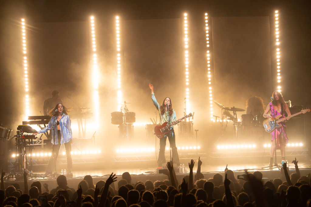 Alana Haim, Danielle Haim and Este Haim of Haim perform live on stage at O2 Academy Glasgow on June 10, 2018 in Glasgow, Scotland.