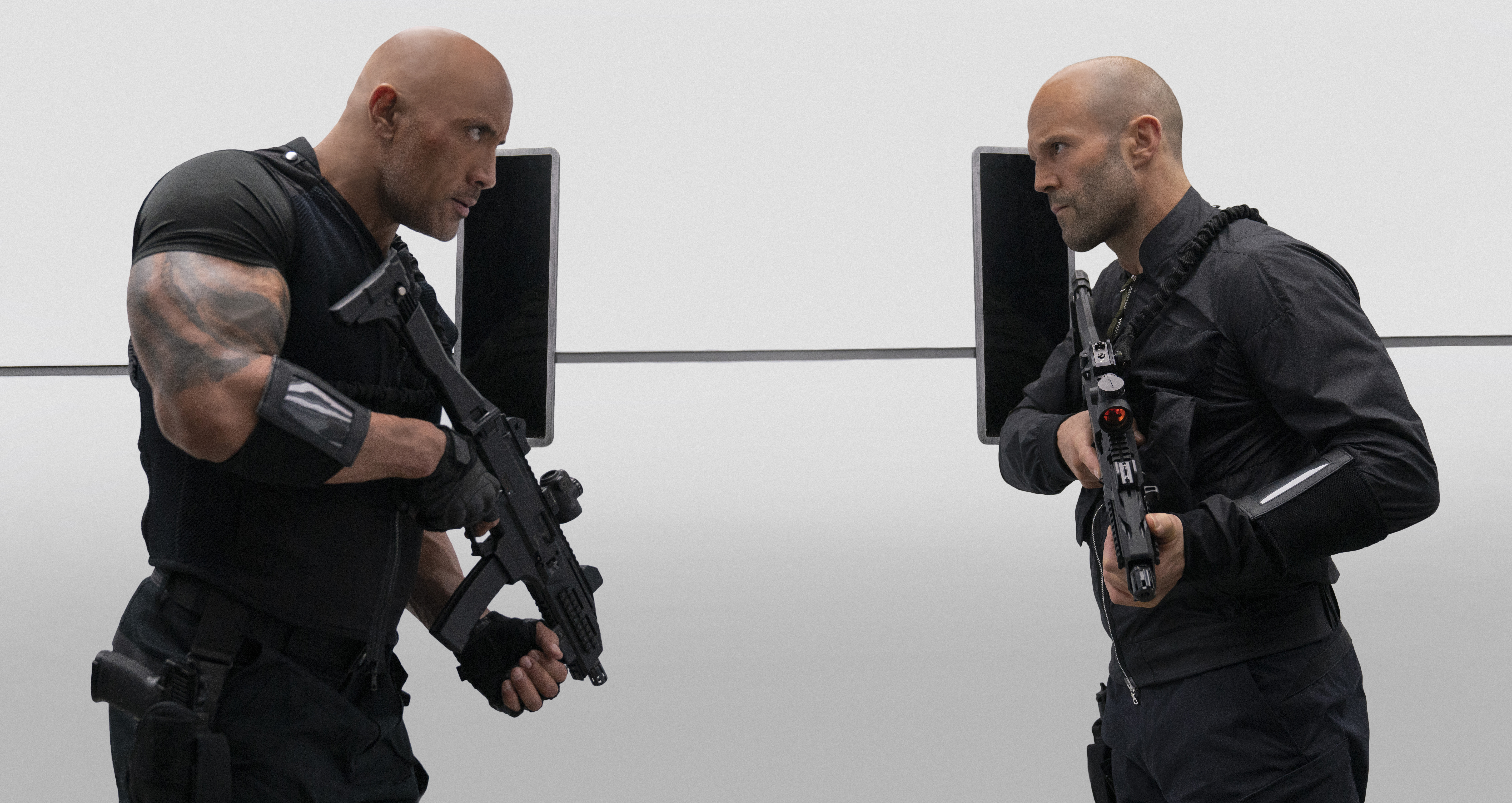 Dwayne 'the Rock' Johnson and Jason Stathem in Fast & Furious Presents: Hobbs & Shaw