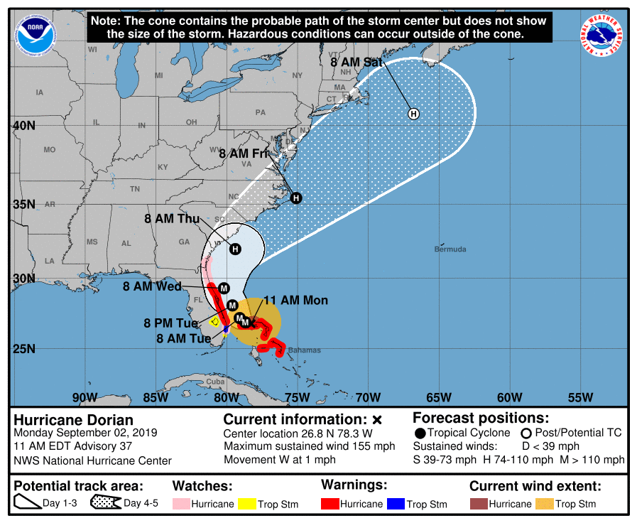 The latest forecasted track for Hurricane Dorian as of 11 a.m. ET on Monday, Sept. 2.