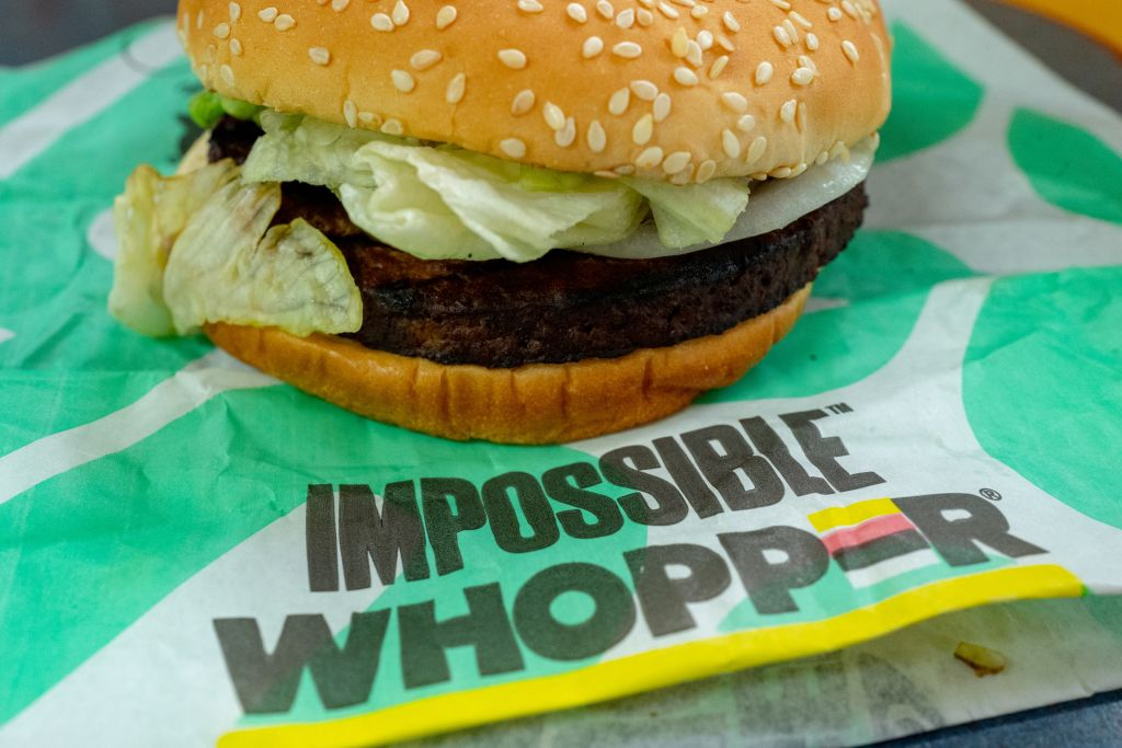 Close-up of Impossible Whopper, a meat-free item using engineered, plant-protein based burger patty from food technology company Impossible, during a limited market test at a Burger King restaurant in the San Francisco Bay Area, Danville, California, June 26, 2019.