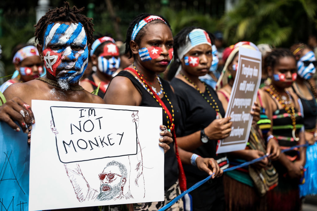 Papuan students at a rally in Jakarta, Indonesia, on Aug. 28, 2019.