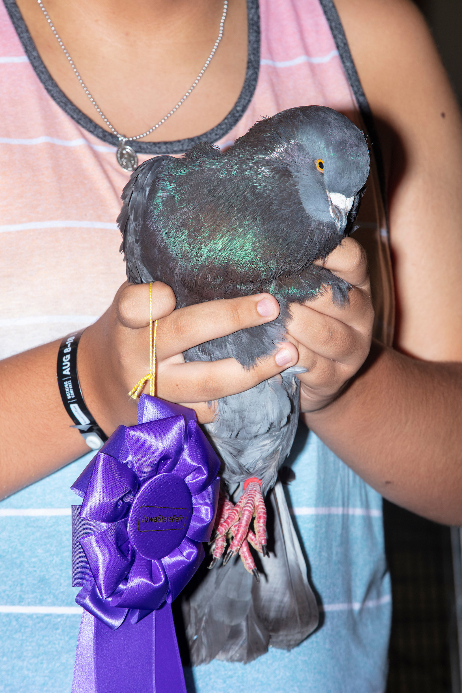 Jett Thomas, 17, of Carlisle, Iowa, holds his 2.1 pound pigeon after judging in the Heaviest and Lightest Pigeon Contest at the Iowa State Fair in Des Moines, Iowa, on Mon., Aug. 12, 2019. Thomas won the contest for heaviest pigeon, as he has done so for the past 7 or 8 years. He says his key to winning is a secret. Thomas is on the autism spectrum, and family members say that this contest helps get him out of his shell.