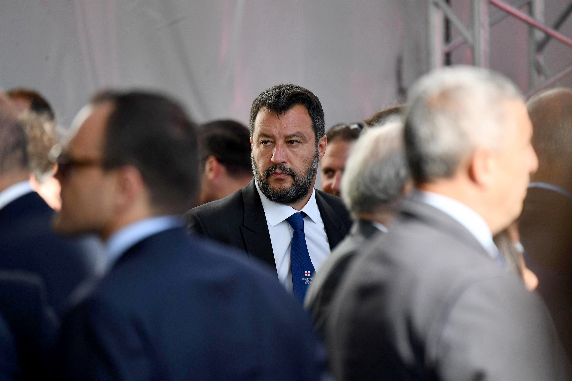 Italian Deputy Premier and Interior Minister Matteo Salvini arrives to attend a memorial ceremony for the victims on the first anniversary of the Morandi highway bridge collapse, in Genoa on August 14.